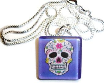 Sugar Skull Dark Blue background Glass Pendant Necklace