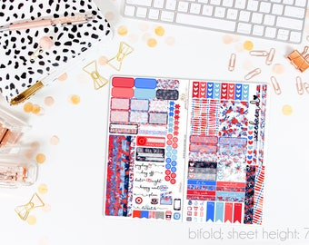 Stars & Stripes TN STANDARD Weekly Kit // 120+ Matte Planner Stickers // Perfect for your Standard Size Traveler's Notebook // TNS0710