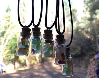 Sea Glass 1 inch Small Glass Bottles, From the Breautiful Northern California Coast
