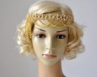 Gold Luxury Rhinestone flapper Gatsby Headband, Chain 1920s Wedding Crystal Headband Headpiece, Bridal Headpiece, 1920s Flapper headband