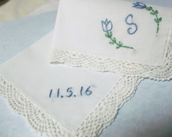 Something blue wedding handkerchief, hand embroidered, tulip design, bouquet wrap, monogrammed and dated, crochet lace, colos optional