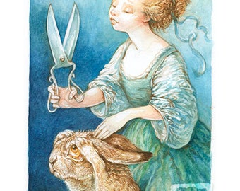 Cutting Her Hare (print)- rabbit, bath, hair care, pets, puns