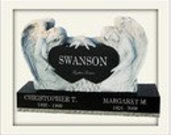 "Headstone- Black ""Double Angel"" design 5499.00 plus shipping"