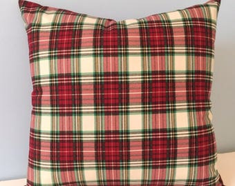 Tartan Plaid throw pillow cover. Winter pillow. Cabin lodge pillow. Red and green holiday plaid pillow. Winter decor. Christmas pillow.
