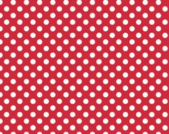 White on Red Small Dot by Riley Blake Designs - polka dots - Quilting Cotton Fabric - choose your cut