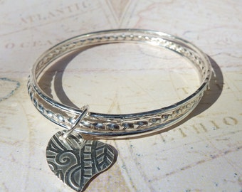 Set of 3 Solid Sterling Silver Bangle Bracelets with Heart Charm/ Bangle Bracelet / Charm Bracelet