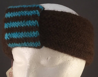 Turquoise and Brown Alpaca headband