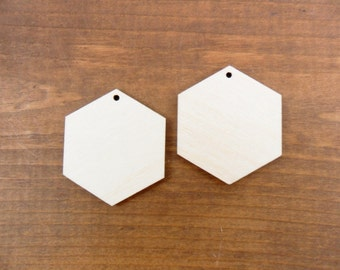 "Wood Hexagon Earring Pendant Jewelry Shapes 1"" x 1 1/8"" x 1/8"" Laser Cut With 1 Hole - 25 Pieces"