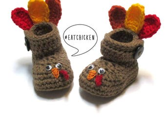 Crochet baby turkey booties.  Fall baby booties for Thanksgiving.  Made to order.