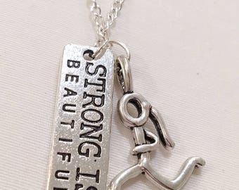 Strong is Beautiful, Running Charm, Fitness Necklace, Running Gift, Fitness Jewelry, Running Necklace, Coach, Gym Jewelry, 5K, 10K, Marathon