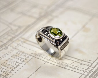 "Silver Statement Ring ""Certitudondum""   Modern Statement Ring   Unique Statement Peridot Ring   Womens Statement Ring"