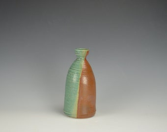 Green and Rustic Brown Ceramic Bottle, Modern Home Decor, Clay Vessel, Unique Bud Vase