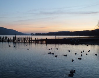 Photograph: December twilight over Coniston in English Lake District, blank greetings card POD white C5 env