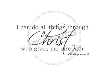 I can through Christ, Religious Scripture Vinyl Wall Home Decor Decal Sticker