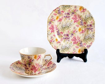 Tea Cup and Plate Set in Vintage English Chintz China