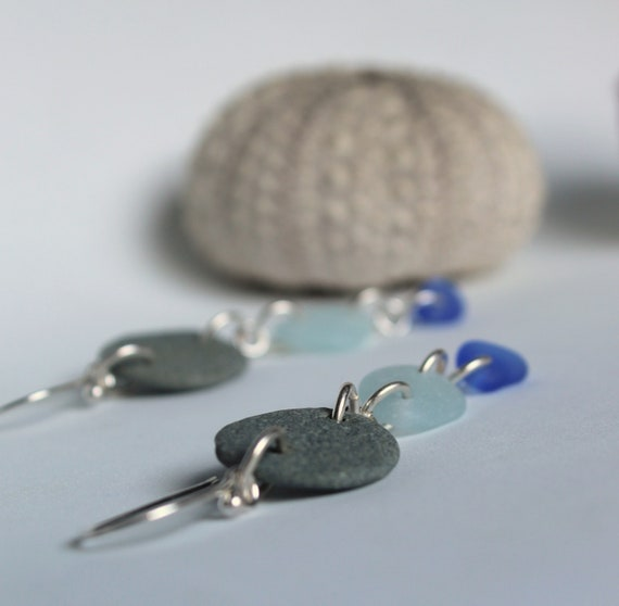 Beach Day beach pebble and sea glass earrings in blues