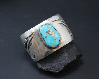 Signed Sterling Silver Native American Overlay Wide Turquoise Cuff Bracelet