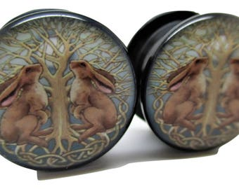 Celtic Rabbits & Tree Ear Plugs - Acrylic Screw-On - 8 Sizes Brand New *Pair*