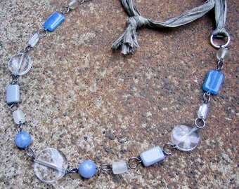 Eco-Friendly Sari Silk Ribbon Statement Necklace - Sky Fall - Recycled, Soft Silk Ribbon and Vintage Beads in Clear, Grey and Light  Blue