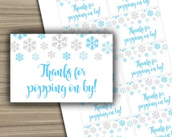 Snowflake Baby Shower - Mini Champagne Labels - PRINTABLE - Instant Download - Snowflakes - Winter Baby Shower Labels - 0111