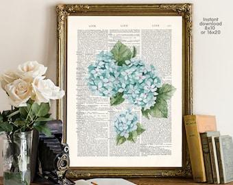 Flower decor - home decor - hydrangea Poster -  Wall art, Poster Dictionary art, Dictionary Art - Print Wall Decor, Nursery Wall Art