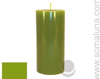 3 x 6.5 Yellow-Green Classic Hand-poured Unscented Pillar Candles Solid Color