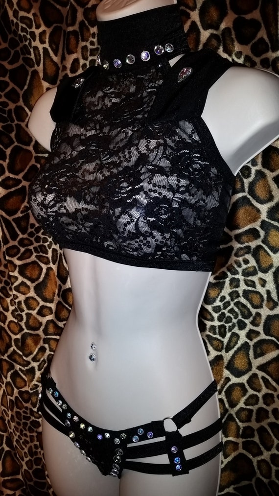 Sexy Hoodie Outfit with 3 StrappyThong and Crop Top Rhinestones Included (Sequence Fabric) Exotic Dance wear, Stripper OUtfit