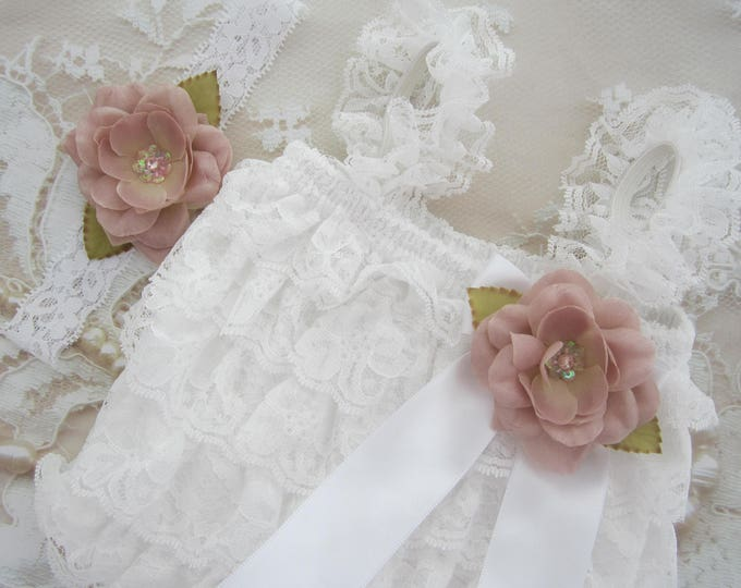 White, Pink or Ivory Lace Ruffle Romper with Removable Flower AND/OR Matching Headband - newborns, prop, bebe foto, Lil Miss Sweet Pea