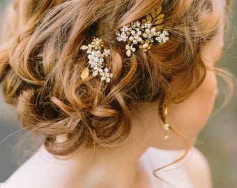 Pearl Hair Pins with Rhinestones, Bridal Hair Pin Set by One World Designs Bridal Accessories, Custom Gold and Pearl Hair Pins