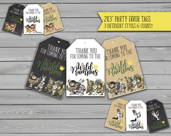 Where the Wild Things Are Party Favor Tags Printables, First Birthday, Wild One, 1, Thank you tags