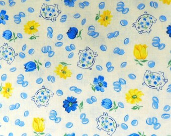 1 yd of Spring Showers fabric. flowers floral yellow blue pigs quilt quilting cotton Wilmington Prints 3844