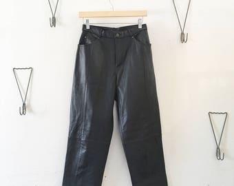 90's Black Leather Pants Size 6