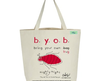 Recycled cotton canvas tote bag with screen printed bedbug design by Bugged Out, hand printed in New York