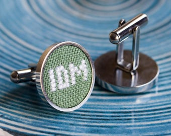 Monogram cufflinks, personalized cufflinks for groom, groomsmen, custom wedding cufflinks - i025