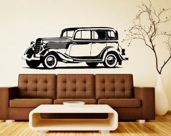 Retro Car Wall Decal Wall Vinyl Sticker Classic Vintage Car Home Interior Removable Bedroom Decor (10rcr)