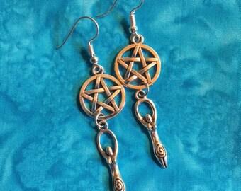 Pentacle & Goddess Earrings
