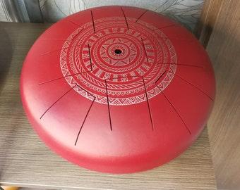 Zen Drum, Handpan, steel tongue drum, big red Zen drum with Mandala symmetric silver 10 notes