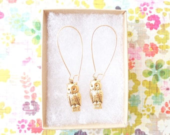 Gold Owl Earrings -Golden Ox Owl Earrings - Antique Gold Owl Earrings- Dangle Earrings - Woodland Earrings- Animal Earrings - Gold Owl