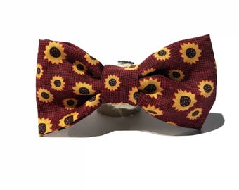 "Cat Bow Tie - Dog Bow Tie - Collar Bow Tie Add On - Cat & Dog Sizing - ""Sunflower Field"""