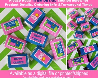 Glam Camping Candy Bar Wrappers - Camping Chocolate Bar Wraps - Girl Camping Chocolate Bar Wrappers - Digital File or Printed Wrappers