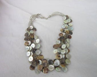 Vintage Six Strand Beaded Necklace with Mother of Pearl Discs Retro wild