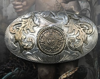 Vintage Sterling Silver Belt Buckle with Aztec Sun Calendar Inset