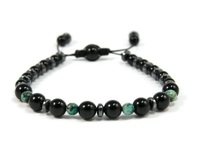Urban Men's Onyx & Turquoise Pull Tie Single Bracelet. Boho Jewelry. Bohemian Jewelry. Ideas for him. Gift for him.