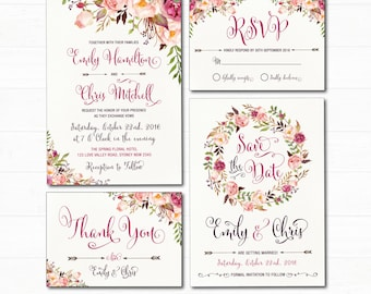 Wedding invitation kits etsy au floral wedding invitation set bohemian watercolor flower invitation boho floral wedding suite rsvp stopboris Choice Image