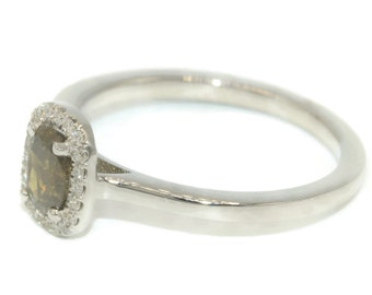 Alternative engagement ring white gold, dainty rustic diamond ring, thin gold delicate diamond halo promise ring