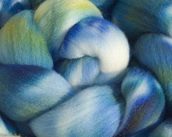 Merino Wool, Hand Dyed Combed Top. 4oz, in Pacific