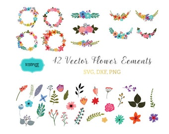 Flower svg, Flower cut file, Flowers vector, Flowers wreaths svg, Flower bouquet svg, Flower download,  svg files, svg, clipart  ID# FLMIX1
