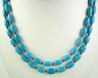 Long Turquoise Coral Necklace Long Turquoise Red Coral Necklace Red Coral Turquoise Bead Necklace Long Turquoise Coral Strand