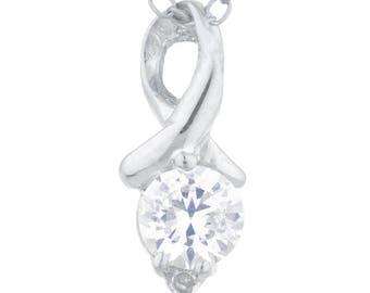 0.50 Ct Zirconia & Diamond Round Design Pendant .925 Sterling Silver