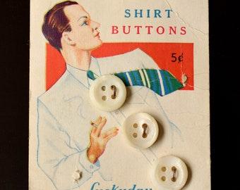 Original 1930s Collectible Button Card Cool Smoking Man